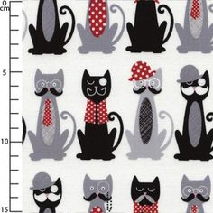 Fabric Francophile - White Sophisticated Cats In a Row x10cm