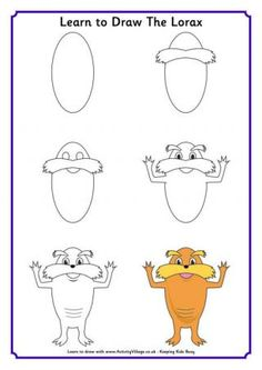 Learn to Draw the Lorax - Here's a fun Dr Seuss activity - learn to draw the Lorax with our step by step tutorial! Just print and follow along.