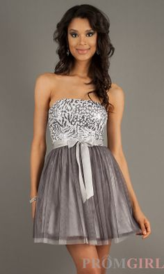 Prom Dresses, Celebrity Dresses, Sexy Evening Gowns at PromGirl: Short Strapless Sequin Embellished Dress