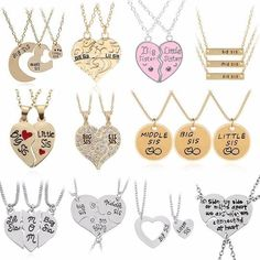 Big Sis Lil Sis Pendant BFF Best Sister Necklaces&Pendants Heart Stitching Sisters Xmas Broken Heart Necklace For Women Friend Necklaces, Girls Necklaces, Friend Jewelry, Fashion Necklace, Fashion Jewelry, Sister Necklace, Elephant Necklace, Minimal Jewelry, Cute Jewelry