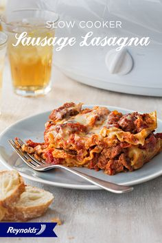 Our Easy Slow Cooker Sausage Lasagna is so good, you won't believe it's so simple to make! Hearty and delicious, this dish makes a filling weeknight dinner with enough for leftovers, too. For fast and easy cleanup in 8 seconds or less, guaranteed, with no soaking or scrubbing, use a Reynolds Slow Cooker Liner.