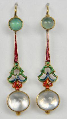 Chrysoprase enamel earrings with moonstone drops
