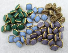 Antique Czech Glass Buttons  Lot of 62 green by JanesVintageToo