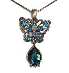 Vintage Swarovski Element Crystal Pendant Necklace Blue Butterfly with Chain WLSTORE N32208