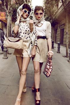 Bring back the retro. Big sunnies, polkadot head wraps and outfits to match. So vintage chic.