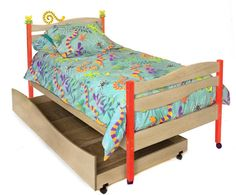 Little Lizards Twin Bed and Trundle - Gray
