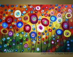 AMAPOLAS en abstracto moderno SUNSET grande lienzo 64 x 36