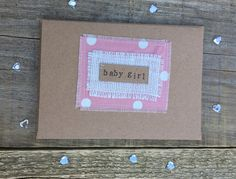 £3.50 Handmade by bossy flossys❤️ baby girl, pink, birth, fabric stitched card. visit bossy flossys on facebook and etsy