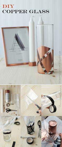 Vidrio decorado con spray color cobre