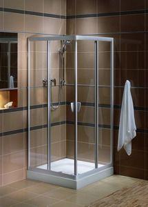 Elegancki prysznic, przezroczysty i delikatnie oświetlony.