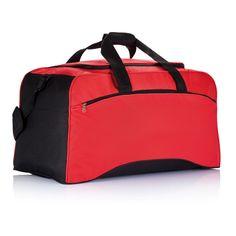 Basic weekend bag. 600D, zippered front pocket, side pockets, adjustable shoulder  strap with shoulder pad.