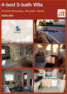 4-bed 3-bath Villa in Ciudad Quesada, Alicante, Spain ►€539,000 #PropertyForSaleInSpain