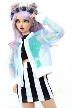 **ATTENTION: The clothing featured in this shop is not intended for human wear!!! Thank you!** A bomber jacket in iridescent sheer featuring a separating zipper in homage to the Japanese uchuu-kei street style. Seams are reinforced and overlocked to avoid fraying, but this is still a delicate fabric and should be handled with care. Dolls with overly expressive hands may need extra care in dressing. Photographed on a Feeple60 moe girl body and a Migidoll Guy body both in the 1/3 size. **ot...