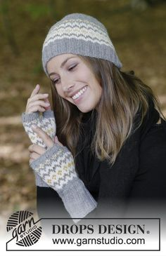 Nanette  - The set consists of: Knitted hat and wrist warmers with multi-coloured Nordic pattern. The set is worked in DROPS Lima. Free knitted pattern DROPS 182-24