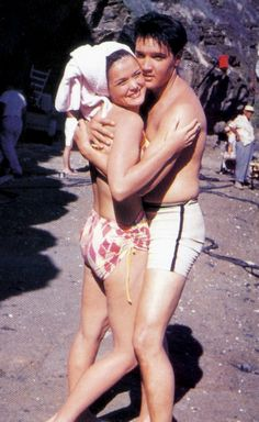 Joan Blackman and Elvis between take on the Blue Hawaii set , spring 1961.