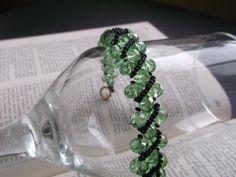 Crystal Bracelet  Beaded Bracelet  Green by VictorianPunkJewelry, $20.00