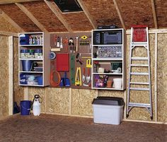 shed organization for storage - keep things off the ground, hang ladder, add peg board