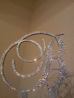Monogram Wedding Cake Topper Crystal Initial Any Letter A B C D E F G H I J K L M N O P Q R S T U V W X Y Z by EnchantingMoment on Etsy https://www.etsy.com/listing/116107521/monogram-wedding-cake-topper-crystal