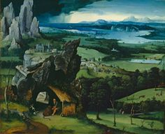 Joaquin Patinir saint Jerome. I love northern renaissance pictures. The blue green I think