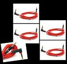 4X 3FT 3.5MM AUX M/M L-SHAPE AUDIO STEREO CABLE RED NOKIA LUMIA 920 HTC ONE X VX