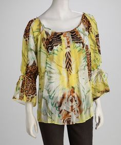 Take a look at this Madison Paige Yellow Safari Top by Madison Paige on #zulily today!