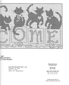 Cross-stitch Welcome Cats, part 3... color chart on part 2
