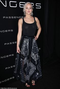 Promotion trail: The actress was sheer divine in a sparkly long skirt and black top that appeared to be see-through as she attended Tuesday's CinemaCon 2016 presentation of her forthcoming film Passengers