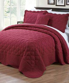 Loving this Burgundy Quilted Four-Piece Bedding Set on #zulily! #zulilyfinds
