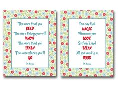 Dr Seuss quotes about reading books -- perfect for Kaysey!!