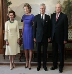 (L-R) Queen Sonja of Norway, Belgium's royal Queen Mathilde, King Philippe and King Harald of Norway pose for photographers at the Royal Palace in Oslo during the official visit of the Belgian royal couple to Oslo, Norway, 30.04. 2014.