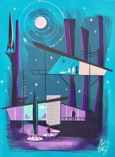El Gato Gomez is an amazing mid-century modern artist. Retro Kunst, Retro Art, Arte Sci Fi, Sci Fi Art, Mid Century Art, Mid Century Modern Design, Nikola Tesla, Cs Lewis, Vintage Space
