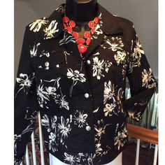 Chaps Jacket BUNDLE TODAY & SAVE 30% Black & white casual jacket. Silver adjustable snaps around the waist and cuffs. Excellent condition. Chaps Jackets & Coats Jean Jackets