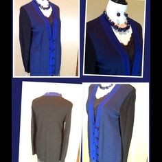 Color block cardigan Great colors in Navy, royal blue and black with large buttons. 100% poly. So soft! Great with slacks, skirt or jeans. Like new, perfect condition. Coldwater Creek Sweaters Cardigans