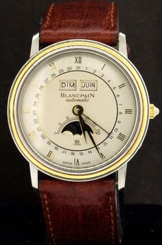 cb0694822 Blancpain SS 18K gold automatic moon face day date month calendar men s  watch