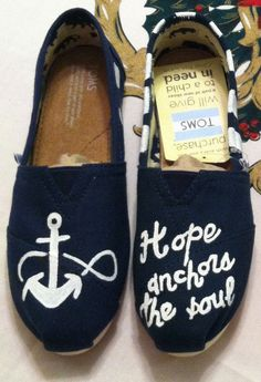 NAUTICAL PAINTED TOMS | ... Hope anchors the soul Toms ANCHOR NAUTICAL MARINE soul toms on Wanelo