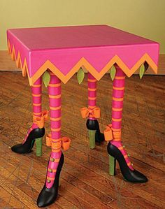 Patience Brewster Halloween Square High Heel Table - the Attention PB pays to her product is incredible. Whimsical Painted Furniture, Painted Chairs, Hand Painted Furniture, Funky Furniture, Colorful Furniture, Art Furniture, Repurposed Furniture, Unique Furniture, Furniture Projects