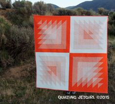 """Gorgeous orange """"Triangle Transparency"""" quilt by Yvonne Fuchs of Quilting… Quilting Projects, Quilting Designs, Sewing Projects, Quilting Ideas, Quilt Festival, Orange Quilt, Mini Quilts, So Little Time, Quilt Making"""