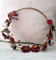 Wire wreath with ceramic flowers by AnEllieCreations on Etsy
