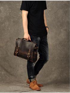 Leather Briefcase Men, Brown Leather Messenger Bag, Men's Briefcase, L – Leajanebag Brown Leather Messenger Bag, Leather Duffle Bag, Leather Briefcase, Messenger Bags, Laptop Briefcase, Briefcase For Men, Laptop Backpack, Under Armour Sweatshirts, Mens Travel Bag