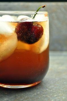 Black Cherry Bourbon Soda: Bourbon, Fresh Cherries, Brown Sugar & Soda (Soak fresh cherries in bourbon & brown sugar for 1 week)