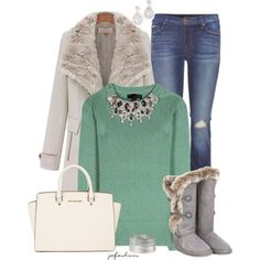"""""""Green Embellished Sweater"""" by jafashions on Polyvore"""
