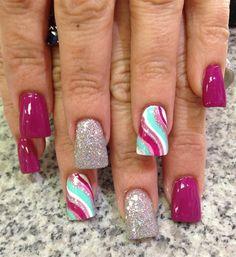 Day Swirly & Straight Lined Nail Art Julie Brumit, Pinks Nail Studio, Kingsport, Tenn. Fingernail Designs, Cool Nail Designs, Acrylic Nail Designs, Cute Summer Nail Designs, Spring Nail Art, Spring Nails, Line Nail Art, Lines On Nails, Funky Nails