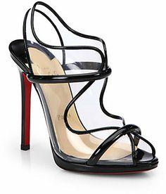 Christian Louboutin Aqua Ronda Patent Leather Slingback Sandals on shopstyle.co.uk