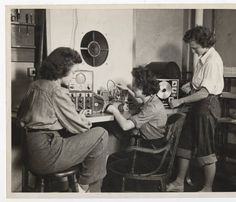 Barbara Brigham 44 (left) and Dorothy Bergamini 44 (right) working with another student in the Physics Department radio laboratory :: Archives & Special Collections Digital Images :: 1943 Maybe good for Poster? Physics Department, Digital Image, Exhibit, 1920s, Che Guevara, Archive, Student, Collections, Big