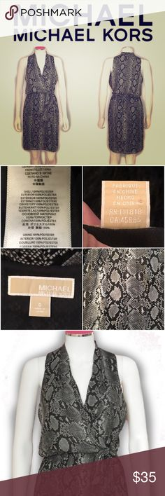 """Michael Kors Wrap Snakeskin Print Dress SZ.0 B3-70-SGW15 - MICHAEL Michael Kors Wrap Snakeskin-Print Dress SZ.0 - Michael Kors / Color: Gray/Black - Style: Sleeveless dress - Material: 100% polyester - Retail Value - Approximate Dimensions (Inches) - Size on tag: 0 / Armpit to Armpit: 15"""" / Total Length: 39"""" Michael Kors Dresses"""