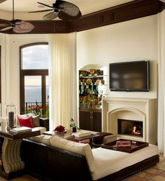 Mediterranean Home Fireplaces Design Ideas, Pictures, Remodel, and Decor - page 30 Home Fireplace, Fireplace Design, Fireplaces, Beach Fireplace, Mediterranean Living Rooms, Mediterranean Decor, Living Room Sectional, Lounge Couch, Tuscan House