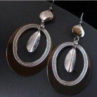 Earrings Anthracite Elliptical Ring