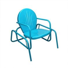 "34"""" Turquoise Blue Retro Metal Tulip Outdoor Single Glider"