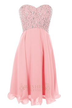 A-line short homecoming dress with exquisite bead work at the bodice and chiffon…