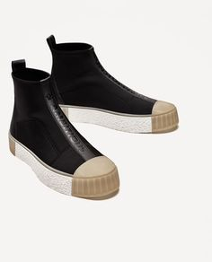 Zara High Top Sneakers with Top Cap Black High Top Sneakers, Black High Tops, Black Shoes, New Shoes, Men's Shoes, Shoe Boots, High Shoes, Zapatillas Louis Vuitton, Louis Vuitton Shoes Sneakers